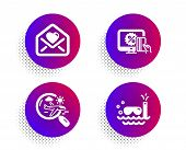 Love Letter, Search Flight And Online Shopping Icons Simple Set. Halftone Dots Button. Scuba Diving  poster