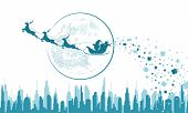 Santa Claus In Sleigh And Reindeer Sled On Background Of Full Moon. Santa Claus Flying Over The City poster