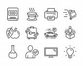 Set Of Business Icons, Such As Ssd, Push Cart, Apple, Monitor, Luggage, Chemistry Lab, Printer, Augm poster