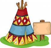 stock photo of wigwams  - Illustration of a Colorful Wigwam - JPG