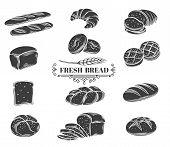 Bread Glyph Icons Set. Rye, Whole Grain And Wheat Bread, Ciabatta, Croissant, Toast Bread, French Ba poster