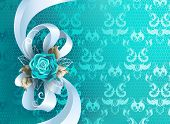 White Silk Bow Decorated With Turquoise Rose With Leaves Of White Gold On Turquoise, Lace Background poster