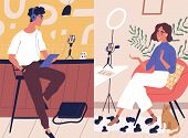 Live Streaming, Broadcast Flat Vector Illustration. Male And Female Social Media Network Bloggers Co poster