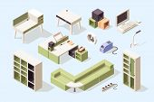 Office Furniture. Isometric Chairs Tables Desks Couches Cabinet Tools For Business Vector Elegance F poster