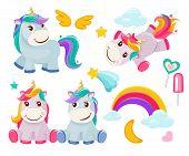 Unicorn. Cute Magic Animals Happy Birthday Symbols Little Pony Baby Horse Vector Colored Cartoon Pic poster