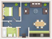 Interior Plan Top View. Realistic Appartment Livingroom Bathroom Badroom Furniture Table Wardrobe So poster