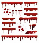 Liquid Blood. Red Sauces Drops Splashes Blob Blood Stain Vector Templates Collection. Blood Liquid,  poster