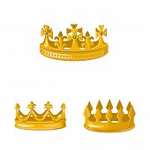 Vector Design Of Monarchy And Gold Icon. Set Of Monarchy And Heraldic Stock Symbol For Web. poster