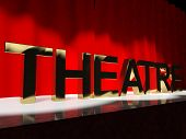 stock photo of broadway  - Theatre Word On Stage Representing Broadway The West End Or Acting - JPG