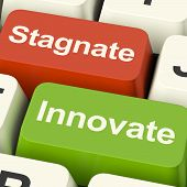 picture of stagnation  - Stagnate Innovate Computer Keys Shows Choice Of Growth And Advancement Or Stagnation - JPG
