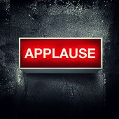 "stock photo of applause  - ""Applause"" warning board message is lit on. - JPG"