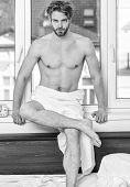 Enjoy Morning Begin Awesome Day. Macho Sexy Muscular Torso Guy Relaxing Near Window Bedroom. Health  poster