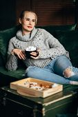 Christmas, Cold Autumn Or Winter Day. Warming Mood. Woman Drinking Warm Cocoa With Marshmallows. Laz poster
