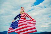 Happy Woman Holding Usa Flag. Usa Flag - Woman Showing American Flag. Woman Holding A Waving America poster
