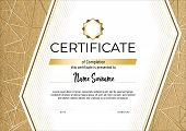 Certificate With Metallic Gold Lines On Mate Gold Background. Modern Fashion Horisontal Certificate  poster