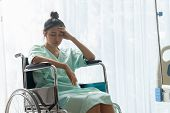 Serious Patient Sitting On Wheelchair In Hospital. poster