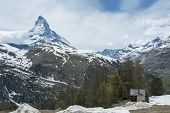 Idyllic Landscape Of Zermatt And Mountain Matterhorn In Switzerland poster