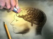 image of pencil eraser  - Someone is erasing a drawing of the human brain - JPG