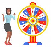 Game And Roulette, Fortune Wheel And Excited Woman. Money Or Prize, African Girl And Color Cirle, Op poster