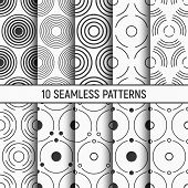 Set Of Ten Monochrome Circles Seamless Patterns. Abstract Geometrical Trendy Vector Backgrounds. Fas poster