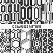 Set Of Ten Monochrome Hexagons Seamless Patterns. Abstract Geometrical Trendy Vector Backgrounds. Fa poster