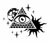 picture of freemasons  - pyramid with the eye the moon sun and stars - JPG