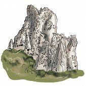 Turkey Cartoon Travel Map Raster Illustration, Landmark Galata Tower, Mount Nemrut, Anitkabir, Selim poster