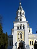 image of deacon  - View on Catholic church with beautiful architecture - JPG