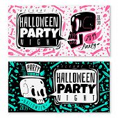 Cartoon Skulls Horizontal Banners. Two Wide Horizontal Banners White And Black With Disproportionate poster