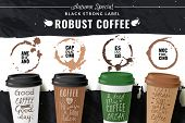 Realistic Coffee Cup Poster. Horizontal Poster With Different Types Of Coffee In Cardboard Cups To T poster