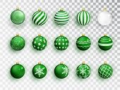 Green Christmas Balls On White Isolated. Set Of Isolated Realistic Decorations. Christmas Tree Toy.  poster