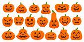 Jack O Lantern Flat Icons Set. Web Sign Kit Pumpkin Face. Halloween Pictogram Collection Includes Sc poster