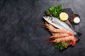 Fresh seafood. Trout fish and langostino shrimps with herbs and spices on a stone background. Top vi poster