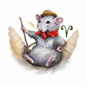 Aries Creative Digital Illustration Of Astrological Sign. Rat Or Mouse Symboll Of 2020 Year Signs In poster