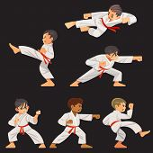 Set Of Karate Boys Characters In Different Positions. Character Set, Karate Workout. poster