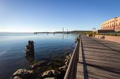 Downtown Marquette Michigan Waterfront. Boardwalk Along The Waterfront Of Lake Superior In Downtown  poster