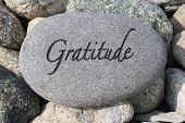 stock photo of gratitude  - Positive reinforcement word Gratitude engrained in a rock - JPG