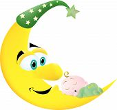 stock photo of sleeping baby  - A cute baby sleeping on a crescent moon with his butt sticking up in the air - JPG