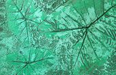Pattern Of Leaf Stamped On Light Green Concrete Pavement For Decorate Walkways In The Garden. poster