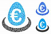 Euro Deposit Egg Mosaic For Euro Deposit Egg Icon Of Filled Circles In Different Sizes And Color Ton poster