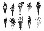 Fire Torch Vector Icons. Vector Burning Flames, Symbols Of Competition, Marathons And Rally Races, S poster