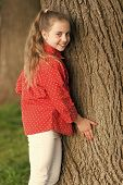 Good Vibes Only. Girl Little Cute Child Enjoy Peace And Tranquility At Tree Trunk. Place Of Power. P poster