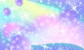 Unicorn Pattern. Mermaid Rainbow. Fantasy Universe. Fairy Background. Holographic Magic Stars. Cover poster