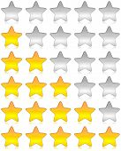 foto of benchmarking  - Yellow and white glossy stars icon set for rating and survey - JPG