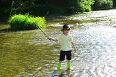 Little Kid Pulling Fishing Rod While Fishing On Weekend. Boy Fish In Pond. Little Boy Fishing Alone. poster