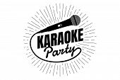 Karaoke Party Night Live Show Open Mike Sign. Classic Performer Vocal Microphone With Line Rays. Vec poster