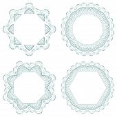 picture of rosettes  - Set of vector guilloche element for certificate - JPG