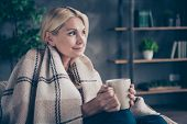 Profile Side Photo Of Peaceful Calm Dreamy Middle Aged Woman Sit In Living Room Hotel Hold Cup Mug W poster