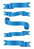 Set Of Blue Ribbon Banner Icon,blue Web Ribbons Set With Gradient Mesh On Gray Background,vector Ill poster