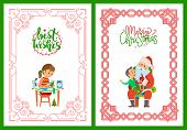 Girl Making Postcard With Best Wishes, Cutting New Year Tree From Paper. Merry Christmas Poster, San poster